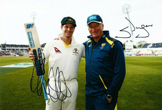 Steven SMITH & Steve WAUGH Signed 12X8 Photo 2019 ASHES Century AFTAL COA (2660)