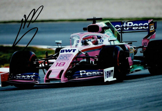 Lance Stroll SIGNED 12X8 Photo Racing Point  AFTAL COA (3615)