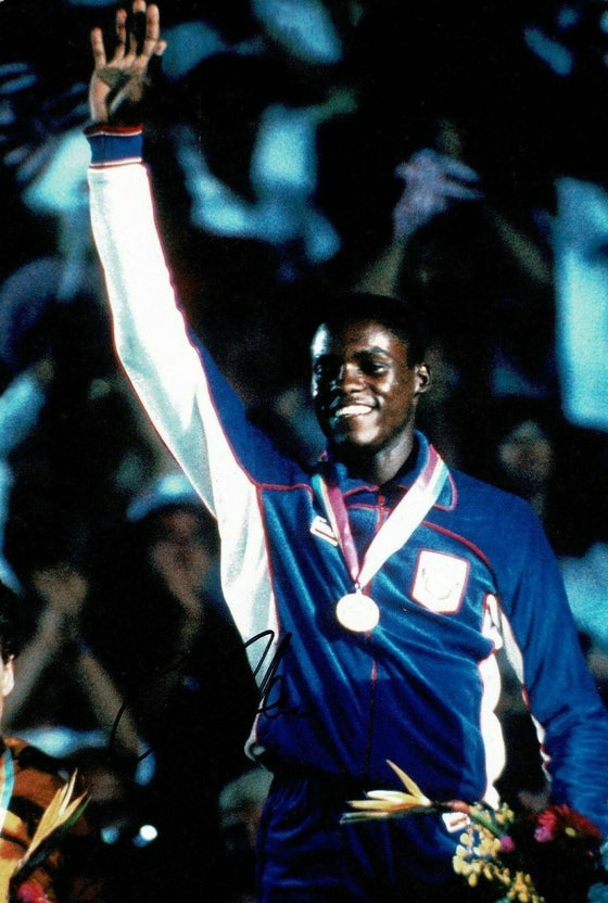 Carl Lewis Signed 12X8 PHOTO DISPLAY Olympic Legend USA AFTAL COA (E)