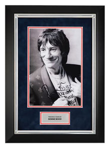 Ronnie WOOD SIGNED & FRAMED 12X8 Photo THE ROLLING STONES AFTAL COA