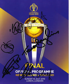 Cricket World Cup FINAL 2019 Programme SIGNED BY 7 England Cricketers AFTAL COA
