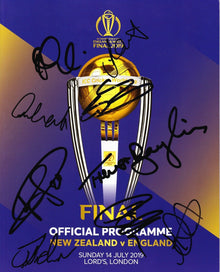 Cricket World Cup FINAL 2019 Programme SIGNED BY 9 England Cricketers AFTAL COA