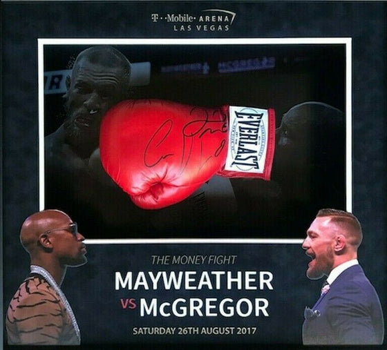 Conor McGregor & Floyd Mayweather Signed & FRAMED Boxing Gloves RARE AFTAL COA