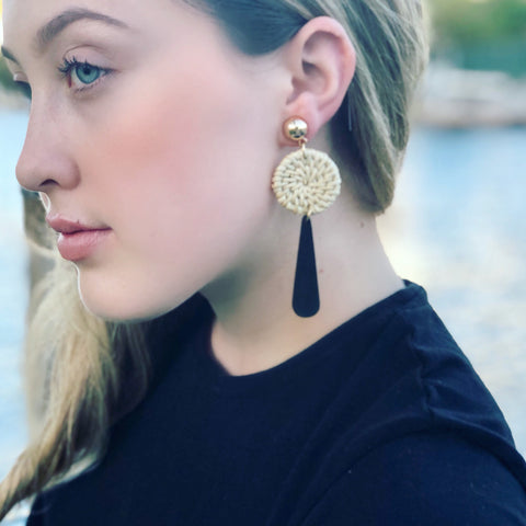 Sun Shower Woven Dangle Earrings in Black or White - Bettina's Collection