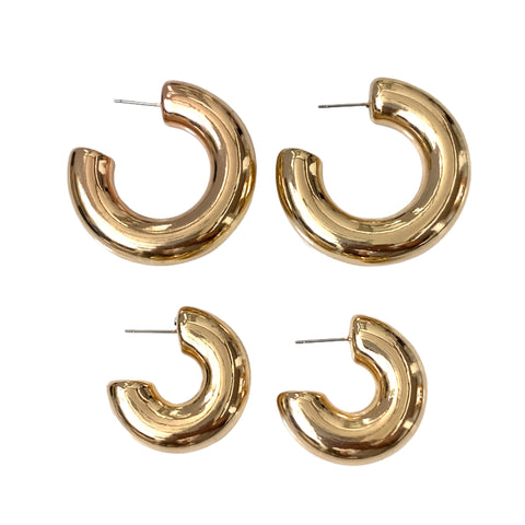 Funky Chunky Hollow Hoop Earrings - Bettina H. Designs