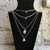 Delicate Pearl Play Necklace with Evil Eye or CZ Charm - Bettina's Collection