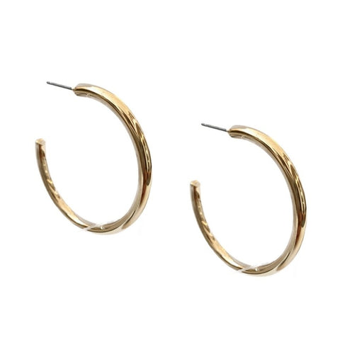 Gold Pipe Hoop Earrings - Bettina's Collection