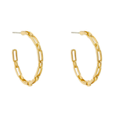 Thin and Dainty Gold Link Chain Hoops - Bettina's Collection
