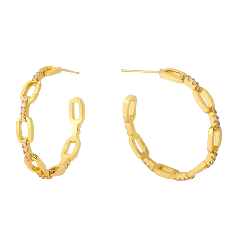 Pave Link Hoops - Bettina's Collection