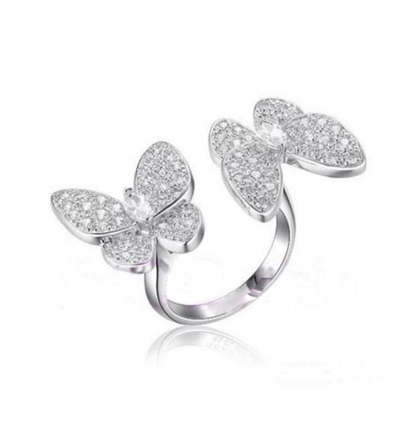 Double Butterfly Between the Fingers Rings in Gold or Silver - Bettina's Collection