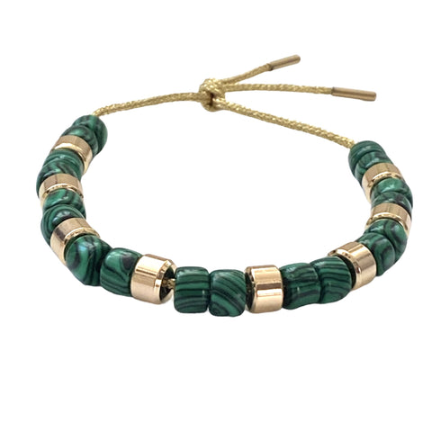 Malachite and Gold Forte Bracelet - Bettina H. Designs