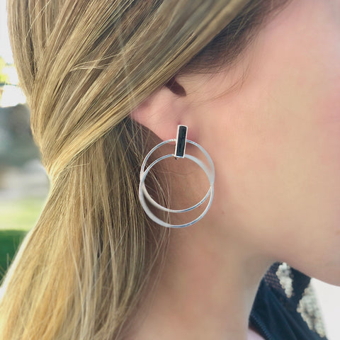 Leah Double Gold or Silver Hoop Earrings