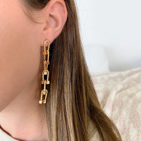 Greta Lock Chain Drop Earrings