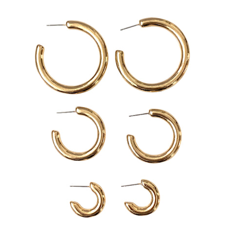 Crazy Lightweight Everyday Hoops in Gold and Silver - Bettina H. Designs