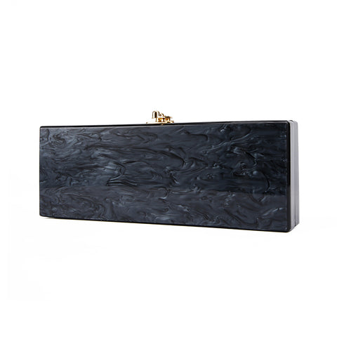Melly Black Marble Acrylic Clutch