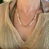 Blair Semi-Preicous Amazonite or White Riverstone Beaded Necklace - Bettina's Collection