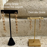 Long Greta Lock Chain Drop Earrings - Bettina's Collection
