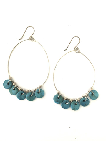 Aspen Large Hoop Turquoise Earrings - Bettina's Collection