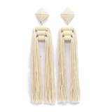 Lazlow Creme Long Tassel Earrings - Bettina's Collection