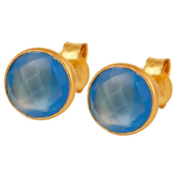 Bimala Chalcedony Plated Gold Stud - Bettina's Collection