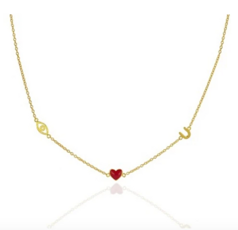 Eye, Heart, Horseshoe (I Love You) Necklace - Bettina's Collection