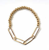Two Faced Paper Clip Gold Ball Bracelet - Bettina's Collection