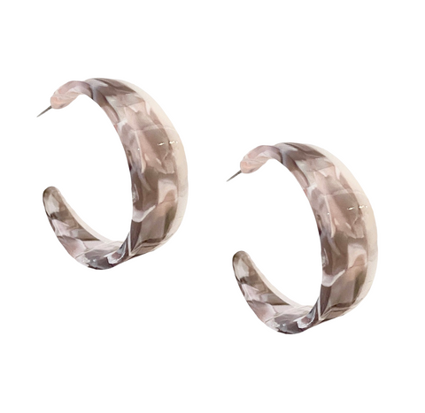 Arielle Marble Hoops - Bettina's Collection
