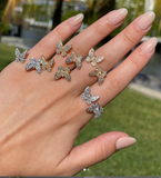 Double Butterfly Between the Fingers Rings in Gold or Silver - Bettina H. Designs