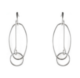 Bowie Oval Geometric Drop Oval Earrings in gold or silver - Bettina's Collection