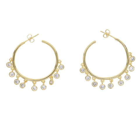 Maria CZ Dangle Gold Hoops