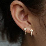 Small Pave Star Huggies in Gold or Silver - Bettina's Collection