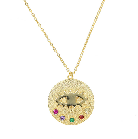 The Evil Eye Multi-Color Coin Necklace