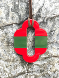 Horn Pendant in Red and Green Striped - Bettina's Collection