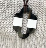 Horn Pendant White Striped - Bettina's Collection