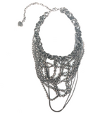 Moi et Toi Gunmetal Chain Cluster Necklace - Bettina's Collection