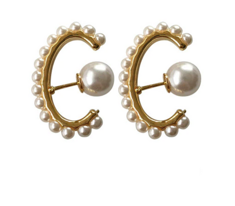 Extra Long Pearl Huggie Lobe Earrings - Bettina's Collection