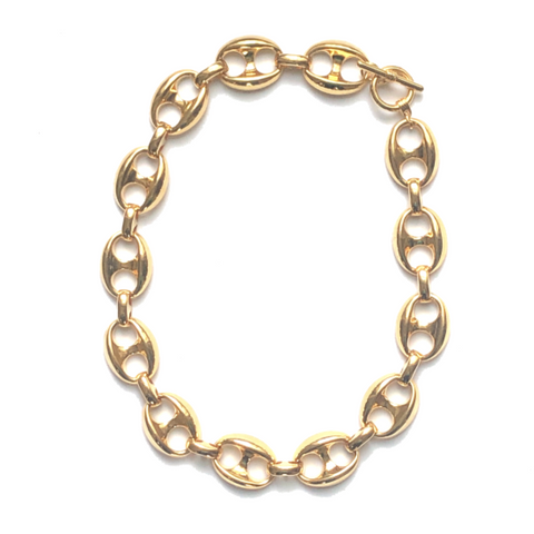Vintage Gold Tone Statement/Large Link Necklace - Bettina's Collection