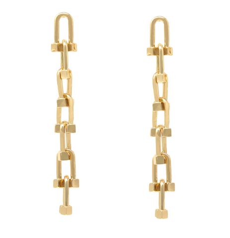 Greta Lock Chain Drop Earrings - Bettina's Collection