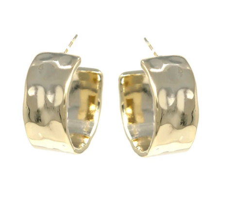 Hunter Hammered Gold Hoop Earrings - Bettina's Collection