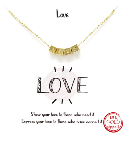 Sliding Love Letter Blocks Necklace in Silver or Gold Plated - Bettina's Collection