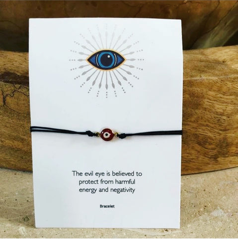 Evil Eye Red or Black String Bracelet - Bettina's Collection