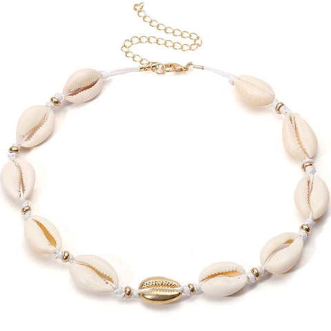 White and Gold  or Silver Seashell Choker - Bettina's Collection
