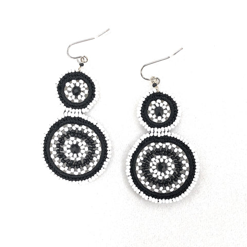 Valentina Black and White Double Drop Earring - Bettina's Collection