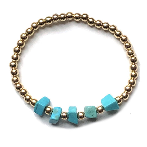 Mindy Turquoise and Gold Bead Bracelet
