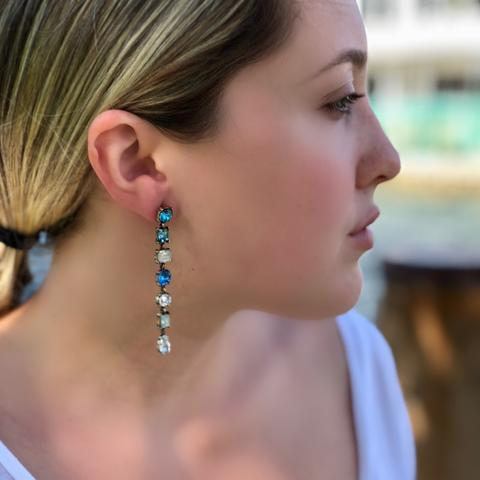 Lucia Blue Crystal Drop Earrings - Bettina's Collection