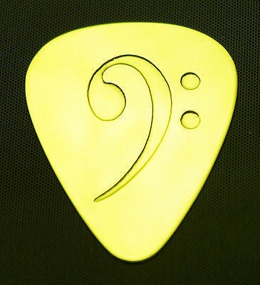 BASS  CLEF - Solid Brass Guitar Pick<br>Acoustic, Electric, Bass, Mandolin