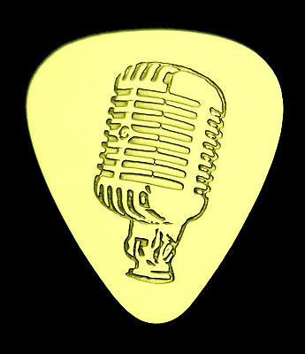 VINTAGE MICROPHONE - Solid Brass Guitar Pick, Acoustic, Electric, Bass