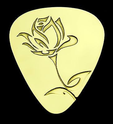 ROSE - Solid Brass Guitar Pick, Acoustic, Electric, Bass