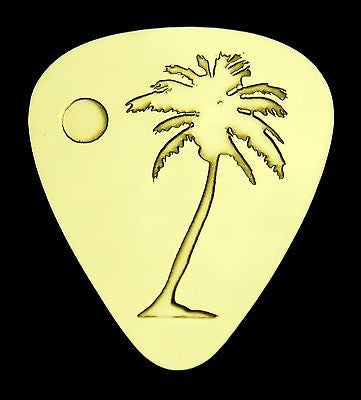 PALM TREE - Solid Brass Guitar Pick, Acoustic, Electric, Bass