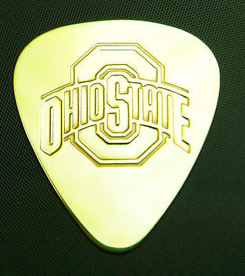 OHIO  STATE - Solid Brass Guitar Pick<br>Acoustic, Electric, Bass, Mandolin